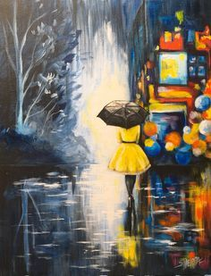 Girl in Yellow Dress black umbrella City Lights at Night Rainy Day painting Step by step acrylic on Canvas free Video tutorial For beginners by The Art Sherpa Rain Painting, Painting Of Girl, Light Painting, City Painting, Yellow Painting, Acrylic Art, Acrylic Painting Canvas, Canvas Art, Canvas Paintings