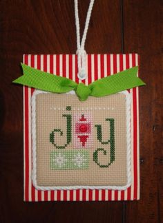 finished completed cross stitch Christmas ornament Lizzie Kate JOY