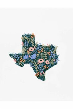 "Texas Print-Inspired by the wildflowers of Texas, our new archival print was created from an original illustration by Anna Bond. Dimensions: 11 X 14"" Texas Print by Rifle Paper Co. . Home & Gifts - Home Decor - Wall Art Austin, Texas"