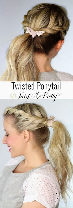 Super cute and looks pretty easy to do! {Twisted Ponytail, Braids, Easy}