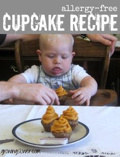 Healthy Allergy Free Cake Recipe for Baby's First Birthday: dairy free, wheat free, egg free, nut free, and not just sugar free but also sweetener free. Mini cupcakes with frosting