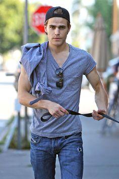 Paul Wesley- Walking a dog