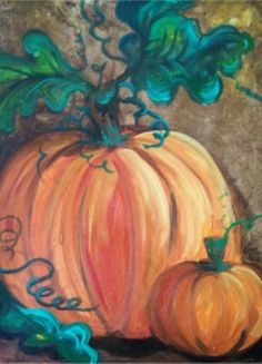 pumpkin painting on canvas Pumpkin Canvas Painting, Autumn Painting, Autumn Art, Canvas Art, Fall Paintings, Canvas Ideas, Acrylic Paintings, Autumn Crafts, Wine And Canvas