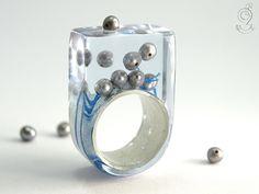 Perlengestöber  Abstrakter Perlen-Ring mit von GeschmeideUnterTeck