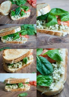 2 roasted chicken breast, diced or shredded    1/4 – 1/2 cup of basil pesto (homemade or store bought) start with 1/4 and go from there. Pesto can be quite salty from the parmesan cheese in it so if you want more flavor use the 1/2 cup    2 tbsp of light mayo    freshly cracked pepper    baby spinach    roma tomatoes, sliced