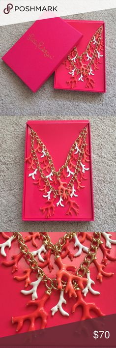 """Lilly Pulitzer Good Reef Coral Cluster Necklace BEAUTIFUL Lilly Pulitzer necklace from the 2015 after party sale. Coral is made of enamel with gold detail. Chain 30"""" long with a 2"""" extender. Includes original Lilly Pulitzer box. Lilly Pulitzer Jewelry Necklaces"""