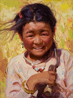"""Cutting Barley"" Tibet, oil"