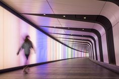 The Kings Cross Tunnel has been designed & built by Allies & Morrison architects & BAM Construction, to form a link between Kings Cross & St Pancras. Lighting System, Lighting Solutions, Lighting Design, Light Architecture, Interior Architecture, Interior Design, Modern Interior, Light Tunnel, Journal Du Design