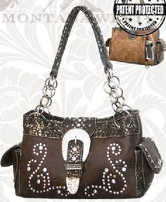 Coffee Rhinestone Buckle Western Purse