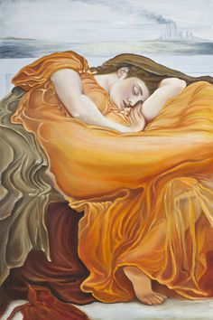 """Inspired by Psalm 46:10 & Frederic's Flaming June. The background depicts the tip of the Manhattan skyline on 9/11 as the Twin Towers went down in flame. The woman in the painting reminds me of the Statue of Liberty symbolically laying down on that day. The title """"Be Still"""" is meant to remind us that we can have peace in the midst of chaos. It is a tribute to all those who lost their lives that horrible day and to their surviving families. Be Still. 2016. 24 x 36 inches. Oil on Canvas. $2500 Manhattan Skyline, Limited Edition Prints, Fine Art America, Oil On Canvas, Original Artwork, Disney Characters, Fictional Characters, Psalm 46, Statue"""
