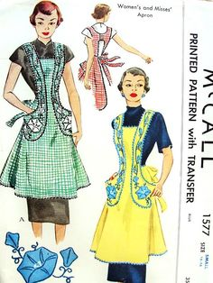 1950s Lovely Full Bib Apron Pattern Figure Flattering Style Morning Glory Flowers Transfer McCall 1577 Vintage Sewing Pattern Classic Kitche...