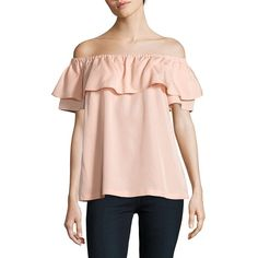 H Halston Ruffled Off-The-Shoulder Top ($30) ❤ liked on Polyvore featuring tops, blouses, peach, pink top, peach blouse, ruffle blouse, pink ruffle blouse and off the shoulder ruffle top