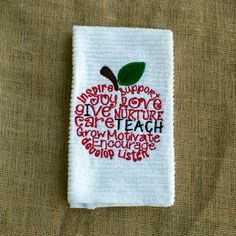 I Teach- Embroidered Towel- Teacher Sayings Towel- Handmade Teachers Gift- Unique Teacher's Gift- Custom Embroidery by ShesSewVain on Etsy