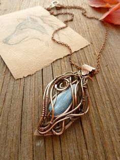 Kyanite copper pendant  wire copper jewelry   by UrsulaJewelry