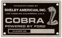 Shelby American, Inc. Iron On Labels, 427 Cobra, Numbers, Plates, American, Badges, Tile, Advertising, Brass