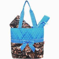 BNB Natural Camo® 3pcs Quilted Diaper Bag-Turq