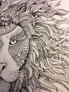 Lion #zendoodle drawn by Justine Galindo Signed prints available (10 1/2 x 12) $20.00 + $5.00 shipping (includes cost of postal tube) PayPal only Email requests to byjustineg@gmail.com