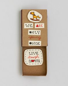 "Inspirational Card ""Live Laugh Love"" Matchbox/ Gift box / Message box ""We are only young once"