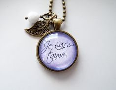 Je t'aime Necklace  French Word Jewelry  Quote by OxfordBright
