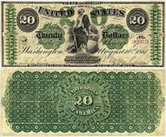 "Greenback"" 20 dollar (United States Note) Issued in 1862."