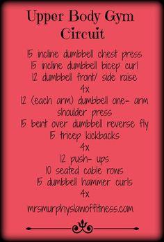 upper body weight room circuit - next workout Circuit Training Workouts, Fun Workouts, At Home Workouts, Body Workouts, Fitness Workouts, Circuit Gym, Fitness Fun, Dumbbell Workout, Kettlebell