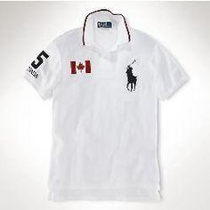 cd6692540af Cheap Ralph Lauren outlet Mens Slim Custom-Fit Canada Flag Polo