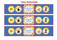 free circus birthday party printable water bottle labels