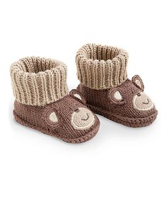 Look at this K&K Interiors Brown & Light Brown Bear Crochet Booties on #zulily today!