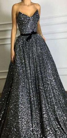 Sparkly Sweetheart Grey Long Formal Evening Gowns Sequin Prom Dresses With  Sashes 97f5bd064