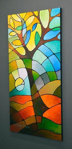 Giclee Print on Stretched Canvas From My Original Abstract Tree of Life Painting, Abstract Geometric Landscape Tree Art Print, inches Originalbild Abstrakt Baum Baum des Lebens Malerei Tree Of Life Painting, Geometric Painting, Abstract Landscape Painting, Geometric Art, Landscape Paintings, Art Paintings, Abstract Art, Abstract Trees, Abstract Paintings