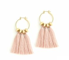 Pink tassel earrings, golden hoop earrings, pink statement earrings, boho earrings, nulika by NULIKA on Etsy https://www.etsy.com/listing/545180793/pink-tassel-earrings-golden-hoop