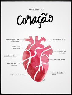 ANATOMIA DO CORAÇÃO Anatomical Heart, Anatomy Art, Heart Anatomy, Grays Anatomy, Mo S, Heart Art, Tatoos, Texts, Lettering