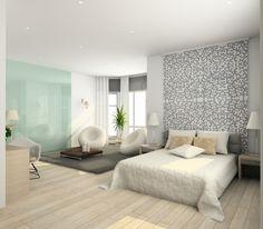 Aranżacja sypialni wystrój nowoczesny, minimalistyczny w kolorach biały, szary - projekt wnętrza #4897, Homplex