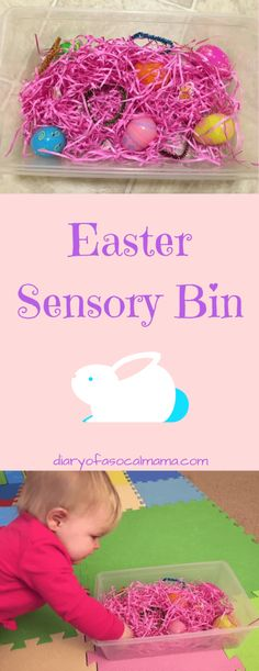 Looking for fun Easter themed activities for your kids? Check out this fun sensory bin made with items from the dollar store. Great for babies or toddlers. Easter activities Easter sensory bin for babies & toddlers - Diary of a So Cal mama Easter Activities For Toddlers, Nursery Activities, Spring Activities, Easter Crafts For Kids, Holiday Activities, Baby Crafts, Toddler Crafts, Easter Ideas, Easter For Babies