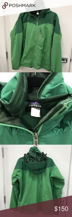 Patagonia ski coat Excellent condition - green Patagonia ski jacket. Can't remember the name of the style - it's warm and looks nice (not too warm). It isn't puffy - you can move around easily in this coat. I took excellent care of it, as you can see by pics. Definitely used so there is a spot on the front (can barely see it). Patagonia Jackets & Coats