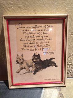 Vintage Buzza Motto Friendship Print  Scottie Dogs 1928 - Framed