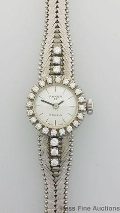 Anker 85 1ct Diamond Retro Mid Century 14k White Gold Ladies Watch #Anker #DressFormal