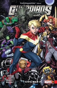 Guardians of the Galaxy Vol. 3 – New Guard – Civil War II (2017) // Think the events of Civil War II only affect Marvel's Earth-bound heroes? Guess again! Because when things get rough for Captain Marvel, she calls in a little help from some friends from out of town – way out of town! The Guardians' other former pal, Iron Man, doesn't stand a chance! Collects Guardians of the Galaxy 11-14, material from Free Comic Book Day 2016 (Civil War II) 1. #guardians #galaxy #civil #war #civilwar2