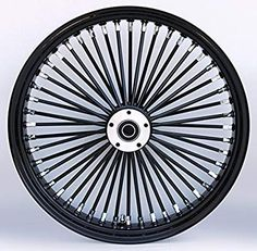 Black/Black Ultima 48 King Spoke x Dual Disc Front Wheel for Harley and Custom Models. For wide glide style front ends. Uses Style Rotors. Harley Wheels, Motorcycle Wheels, Harley Bagger, Harley Softail, Custom Harleys, Custom Bikes, Radios, Tyre Brands, Bicycles