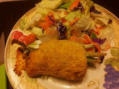 Took a spin from another recipe, chicken wrapped around asparagus and cheddar cheese, then breaded super yummy.