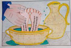 Nederig zijn - voetwassing Bible Activities For Kids, Bible Crafts For Kids, Sunday School Activities, Sunday School Crafts, Jesus In The Temple, Bible Story Crafts, Christian Kids, Church Crafts, Kids Church