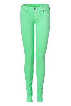 True Religion Neon Green Shannon Skinny Jeans from Stylebop #poachit
