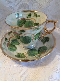 A Most Unusual Tea Cup and Saucer Set by Ucagco by TheRainyDayShop
