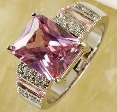 Sz 7 8 9 10 Sim Emerald Cut Pink  Topaz SP. Starting at $1 on Tophatter.com!