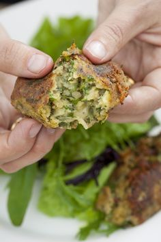 A hearty, healthy and delicious vegetarian starter from Sarah Raven – split pea croquettes with mint and sheep's cheese.