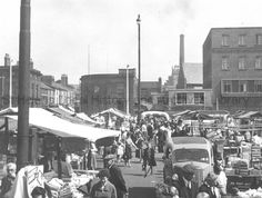Photograph of open market from Bridge Street, St.Helens. 1960. Ref SBT/1/2 Tray