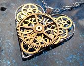 Mechanical Heart Necklace Cross Clockwork Gears by amechanicalmind steam punk!