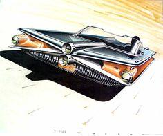 "Ref#633 Date:1957 Artist:Peter Wozena, signed ""Wozena, 3/1957"" Make:Chevrolet Model:Corvette Type:Conceptual rendering Medium:Gouache and colored pencil on vellum Size:13 x 16"