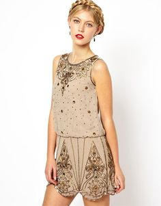 Nude dress in 20's style, Frock and Frill.