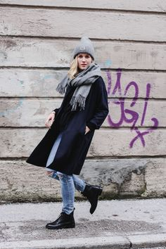 tifmys – Beanie and scarf: Acne Studios | Coat: Mango | Distressed denim: H&M | Boots: Edited | Lipstick: Astor Color Last VIP Fuchsia Allure 132